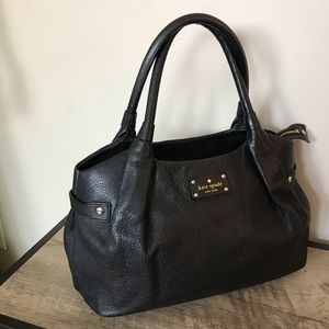 KATE SPADE Black LEATHER Tote SATCHEL Purse BAG